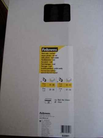 Fellowes 53501 45mm Black Plastic Binding Comb 21 Loop Box 50