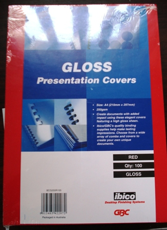 GBC 250gsm Gloss Binding Covers A4 Red BCG250R100 Pk 100
