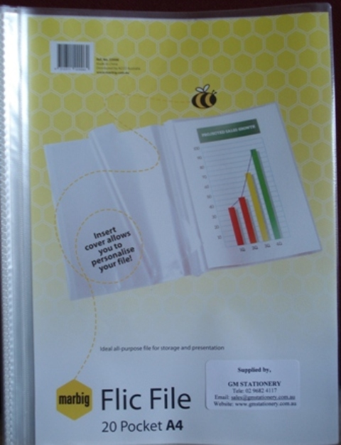 Marbig 22006 Flic File A4 20 Pocket Clear Insert Cover