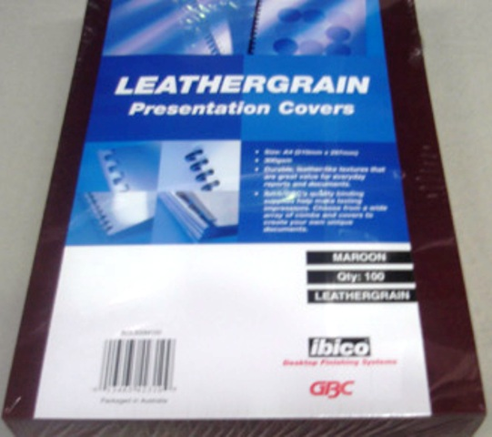 GBC 300gsm Leathergrain Binding Cover A4 Maroon BCL300M100