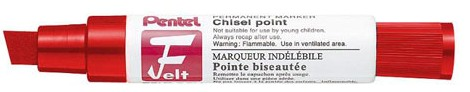 Pentel M180B Red Chisel Point Markers Permanent Ink Box 6