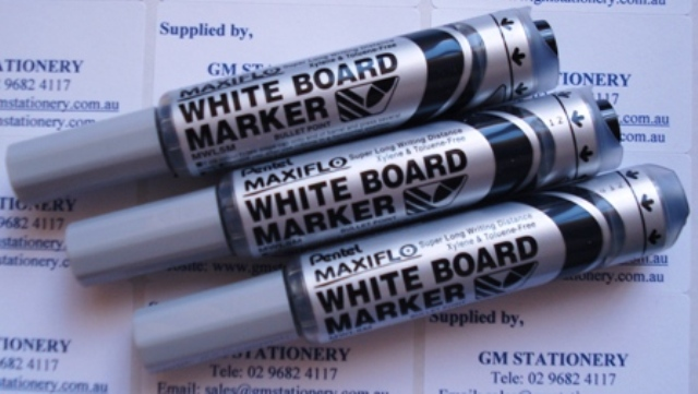 Pentel MWL5A Maxiflo Whiteboard Marker Black Bullet Point Box 12