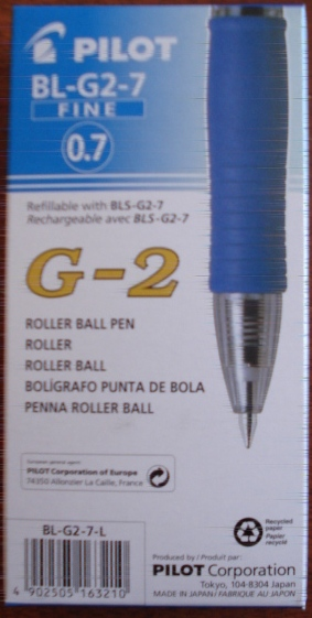 Pilot BL-G2-7 0.7mm Gel Ink Blue Roller Ball Pen 622510 box 12