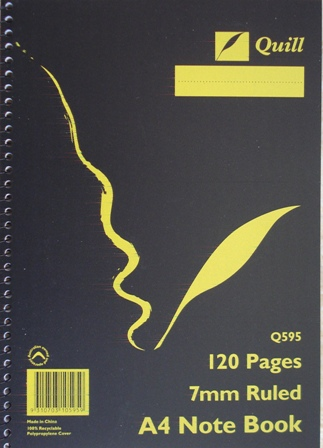 Quill Q595 A4 Note book Spiral Bound 120 Pages 10595 Pkt 10