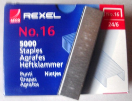 Rexel R06010 Staples No 16 24/6 Box 5000 Silver