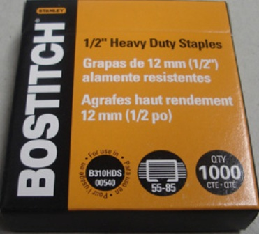 "Bostitch SB35 1/2"" - 12mm Staples Box 1000 - Free Ship."