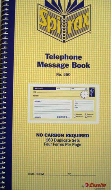 Telephone Message Books Spirax