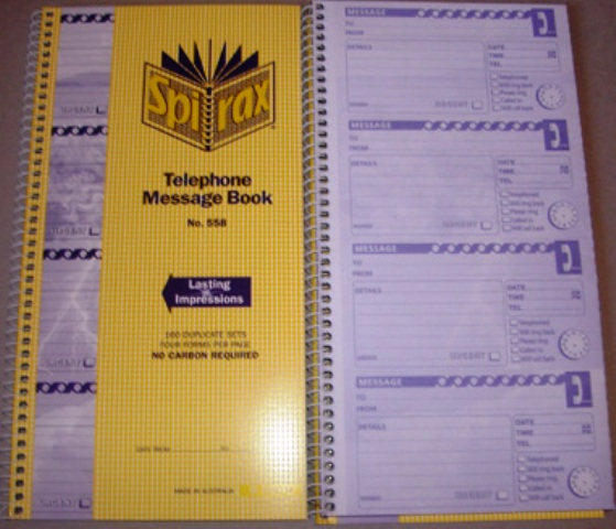 Spirax 558 Telephone Message Book 56558