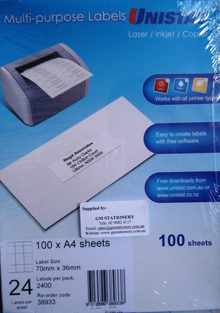 38933 Label Unistat 70x36mm 24 per sheet Box 2400