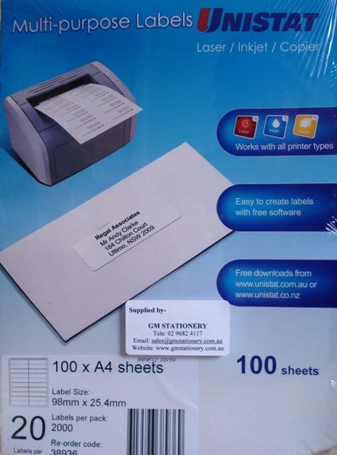 38936 Label Unistat 98x25mm 20 per sheet Box 2000