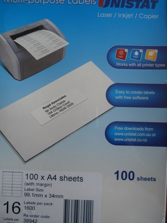 38942 Label Unistat 99x34mm 16 per sheet With Margin Box 1600