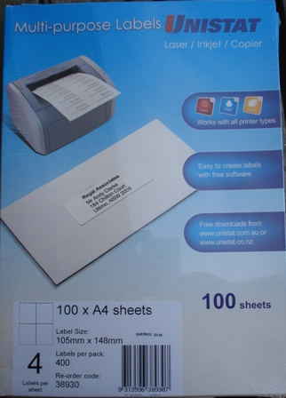 38930 Label Unistat 105x148mm 4 per Sheet Box 400