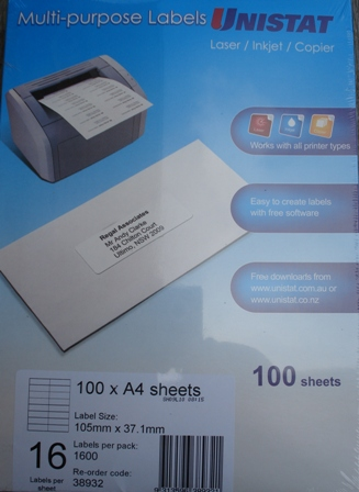 38932 Label Unistat 105 x37mm 16 per sheet Box 1600 - Free Ship.
