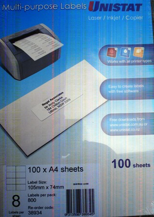 38934 Label Unistat 105x74mm 8 per sheet Box 800