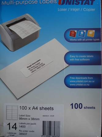 38937 Label Unistat 98x38mm 14 per sheet Box 1400