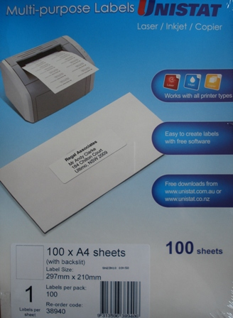 Unistat 38940 Multi Purpose label Box 100