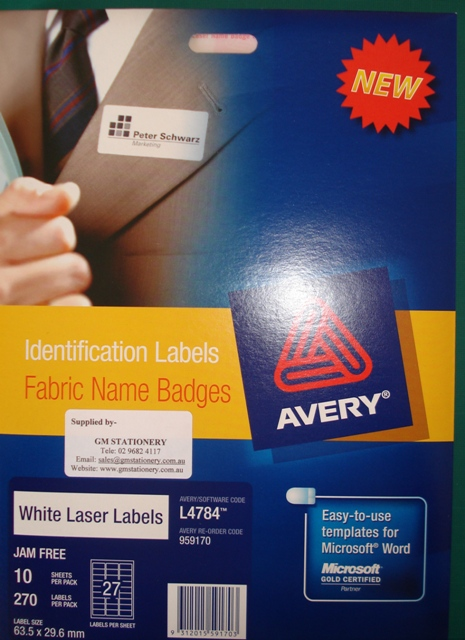 Avery 959170 L4784 Fabric Label Name Badge