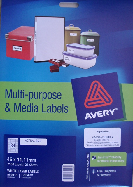 Avery 959018 Laser label Multi Purpose & Media L7656-25