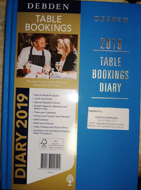 2019 TABLE BOOKINGS DIARY