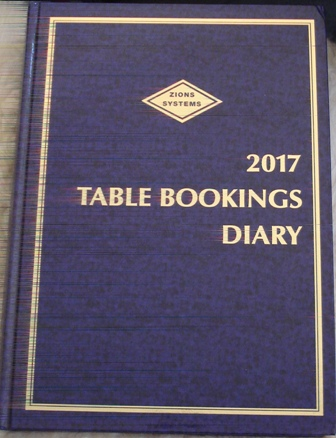2018 TABLE BOOKINGS DIARY
