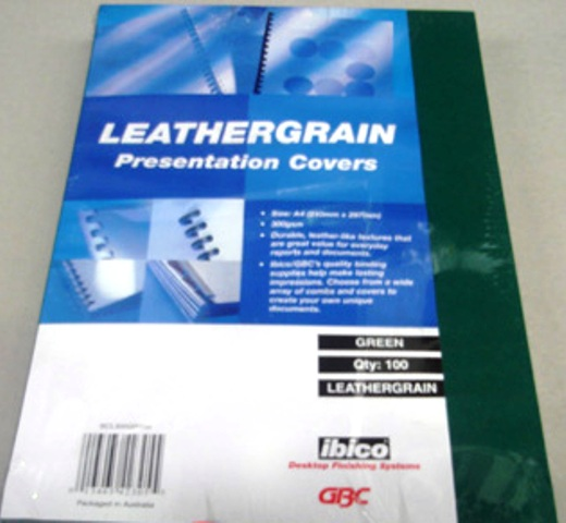 GBC 300gsm Leathergrain Binding Cover A4 Green BCL300GR100